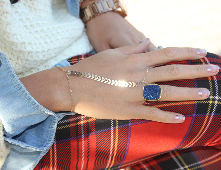 Blue Druzy Ring and Hand Bracelet