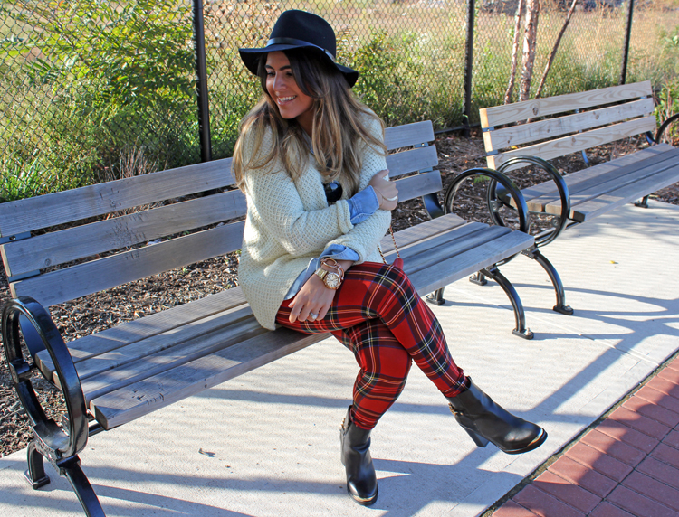 Fall Style Sweater Boots and Leggings Plaid