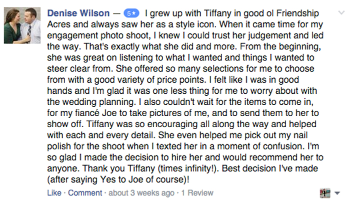 Denise Review tiffany PINERO style