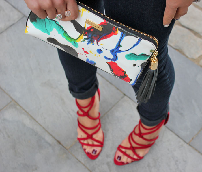 Fashion Blog Shot From Where I Stand Tiffany Pinero Style Milly Paint Splattered Clutch